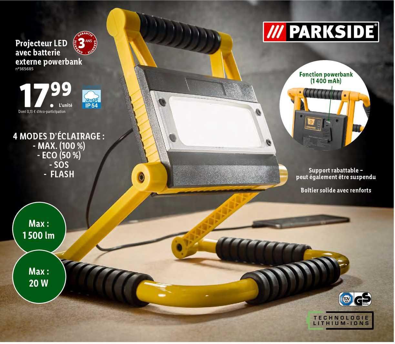 Lidl Projecteur Led Avec Batterie Externe Powerbank Parkside