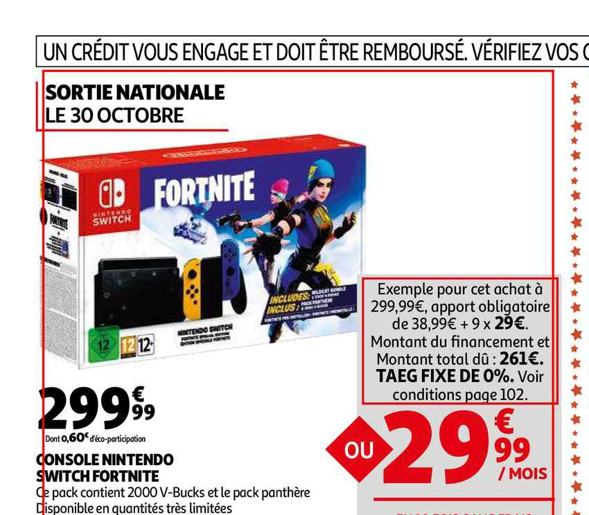 Auchan Console Nintendo Switch Fortnite