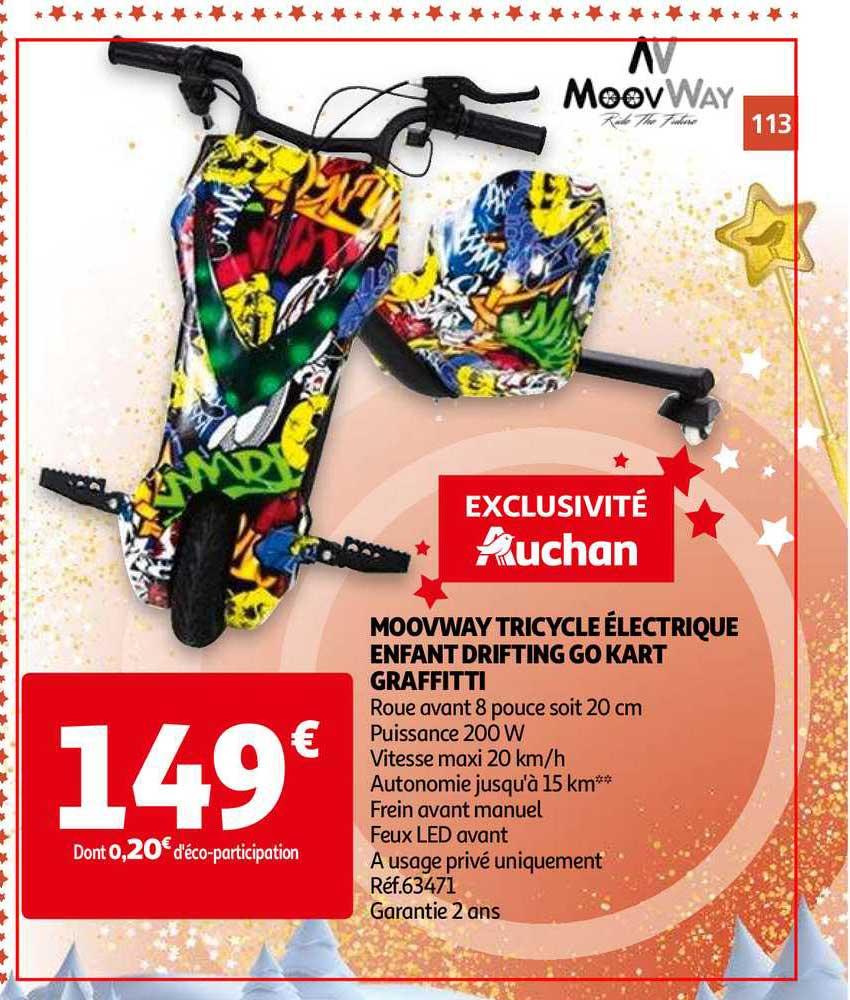 Auchan Moovway Tricycle électrique Enfant Drifting Go Kart Graffitti