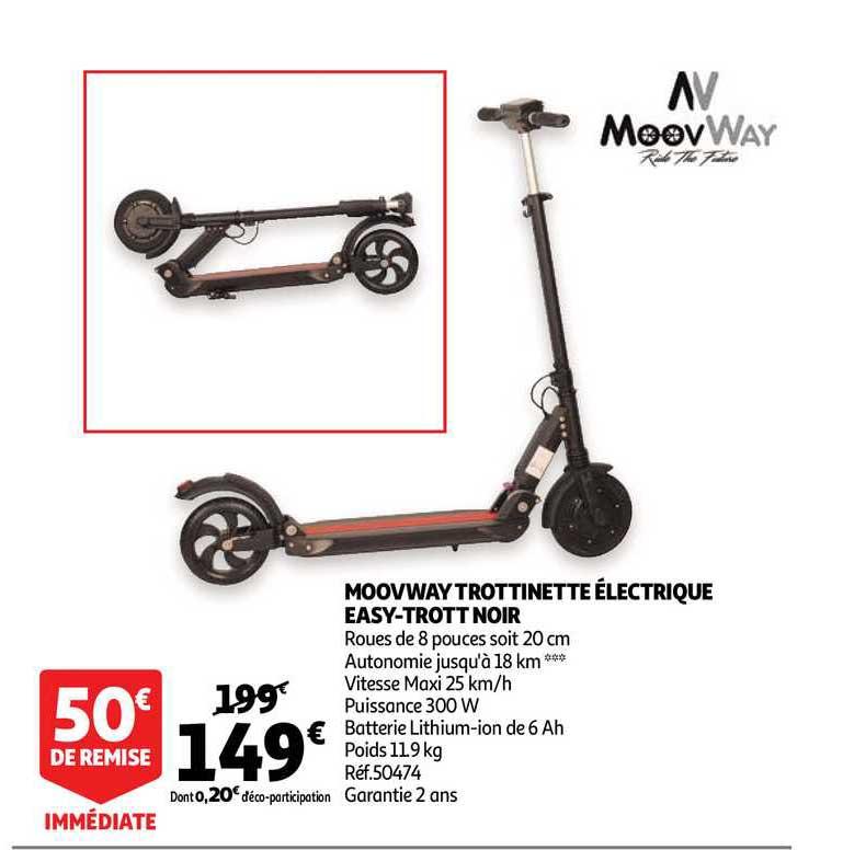 Auchan Direct Moovway Trottinette électrique Easy Trott Noir