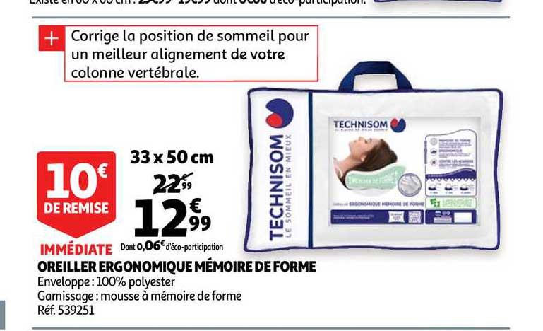Auchan Oreiller Ergonomique Mémoire De Forme Technisom