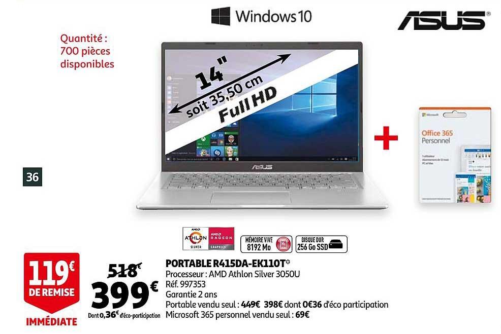 Auchan Portable R415da-ek110t Windows 10 Asus