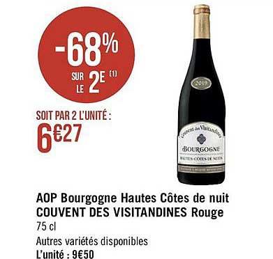 Géant Casino Aop Bourgogne Hautes Côtes De Nuit Couvent Des Visitandines Rouge