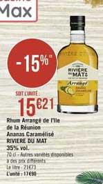 Casino Supermarchés Rhum Arrangé De L'ile De La Réunion Ananas Caramélisé Riviere Du Mat 356% Vol.