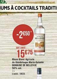 Casino Supermarchés Rhum Blanc Agricole De Guadeloupe Marie Galante Domaine De Bellevue 50% Vol.