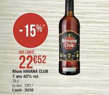 Casino Supermarchés Rhum Havana Club 7 Ans 40% Vol.