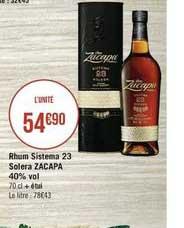 Casino Supermarchés Rhum Sistema 23 Solera Zacapa 40% Vol.