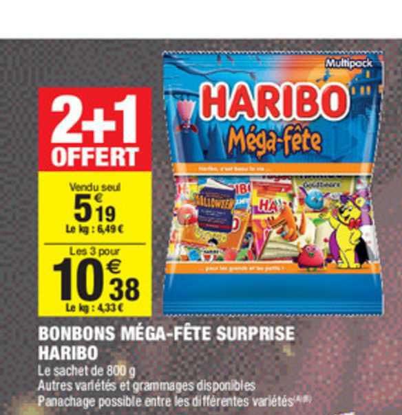 Carrefour Market Bonbons Méga Fête Surprise Haribo 2+1 Offert