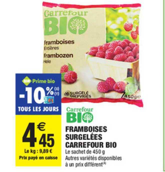 Carrefour Market Framboises Surgelées Carrefour Bio