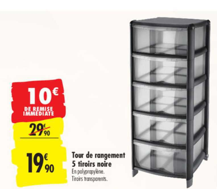 Offre Tour De Rangement 5 Tiroirs Noire Chez Carrefour
