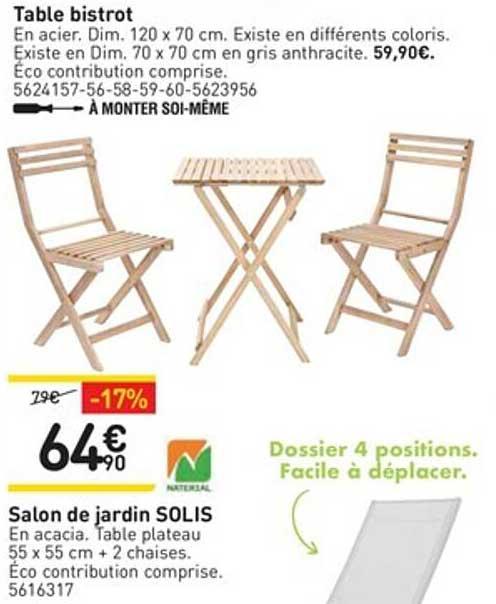 WELDOM Table Bistrot, Salon De Jardin Solis