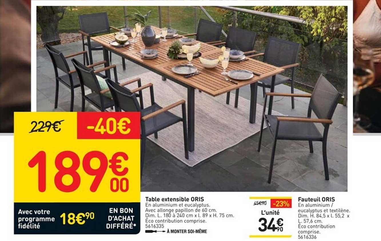 WELDOM Table Extensible Oris, Fauteuil Oris