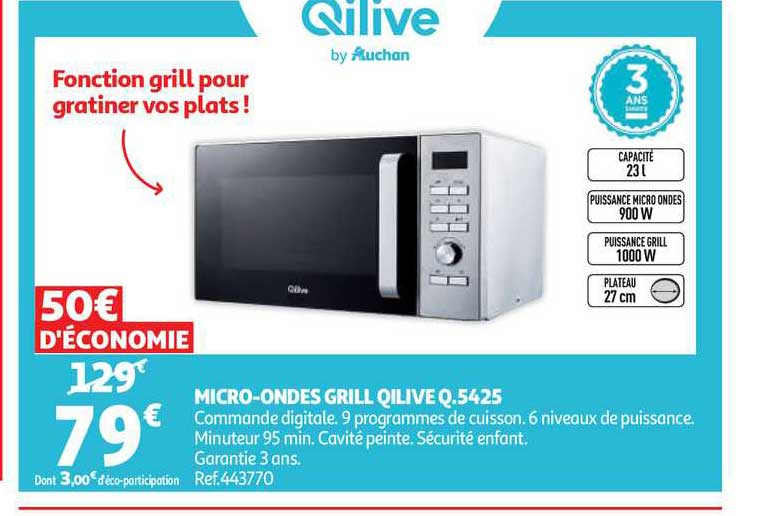 Auchan Micro Onde Grille Qilive Q.5425