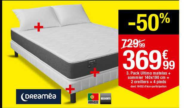 BUT Pack Ultimo Matelas + Sommier 140x190 Cm + 2 Oreillers + 4 Pieds Dreaméa Ressorts