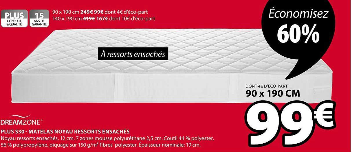 JYSK Plus S30 Matelas Noyau Ressorts Ensachés Dreamzone