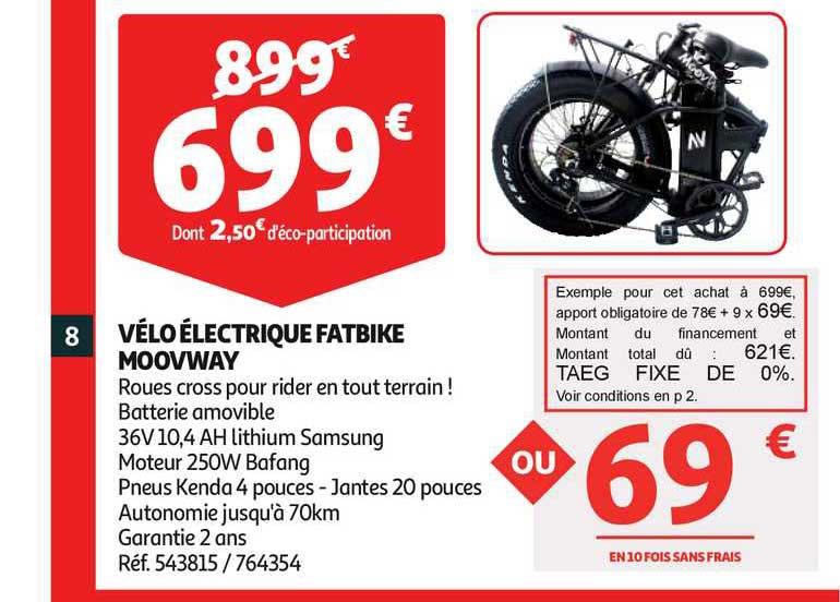 Auchan Vélo électrique Fatbike Moovway
