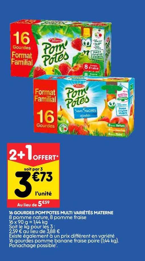 Leader Price 16 Gourdes Pom Potes Multi Variétés Materne 2+1 Offert