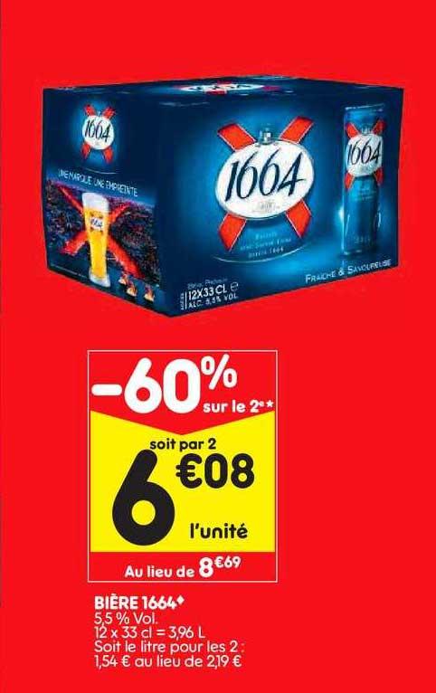 Leader Price Bière 1664 -60% Sur Le 2e