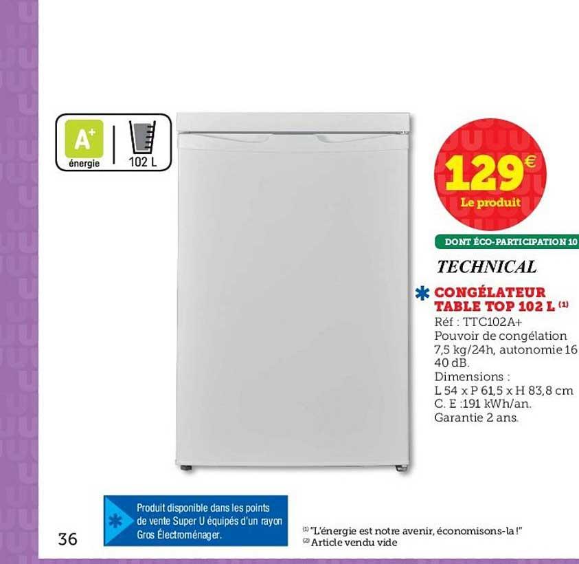 Super U Congélateur Table Top 102 Litres Technical