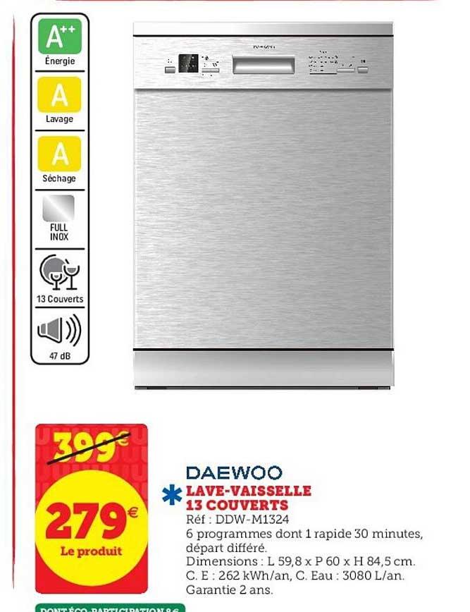 Super U Lave Vaisselle 13 Couverts Daewoo