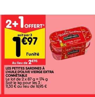 Leader Price Les Petites Sardines à L Huile D Olive Vierge Extra Connétable 2+1 Offert