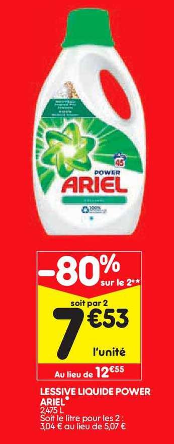 Leader Price Lessive Liquide Power Ariel -80% Sur Le 2e