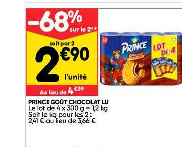Leader Price Prince Goût Chocolat Lu -68% Sur Le 2e