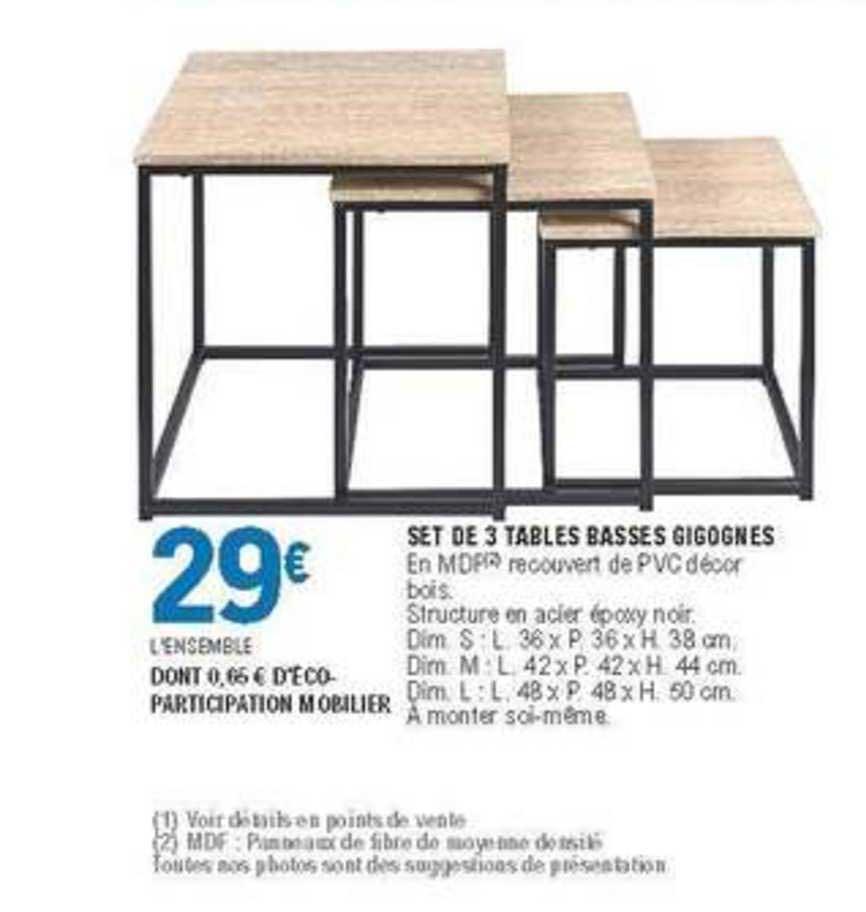 Offre Set De 3 Tables Basses Gigognes Chez E Leclerc