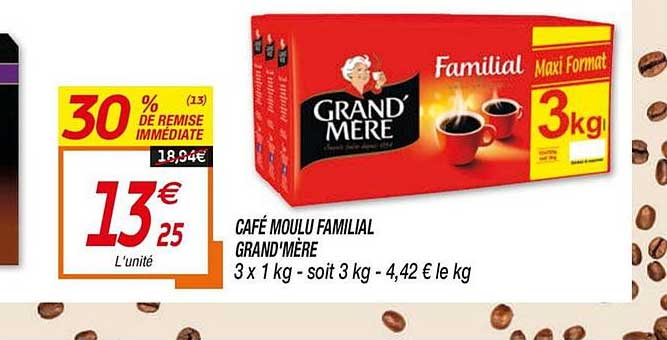 Netto Café Moulu Familial Grand'mère 30% Remise Immédiate