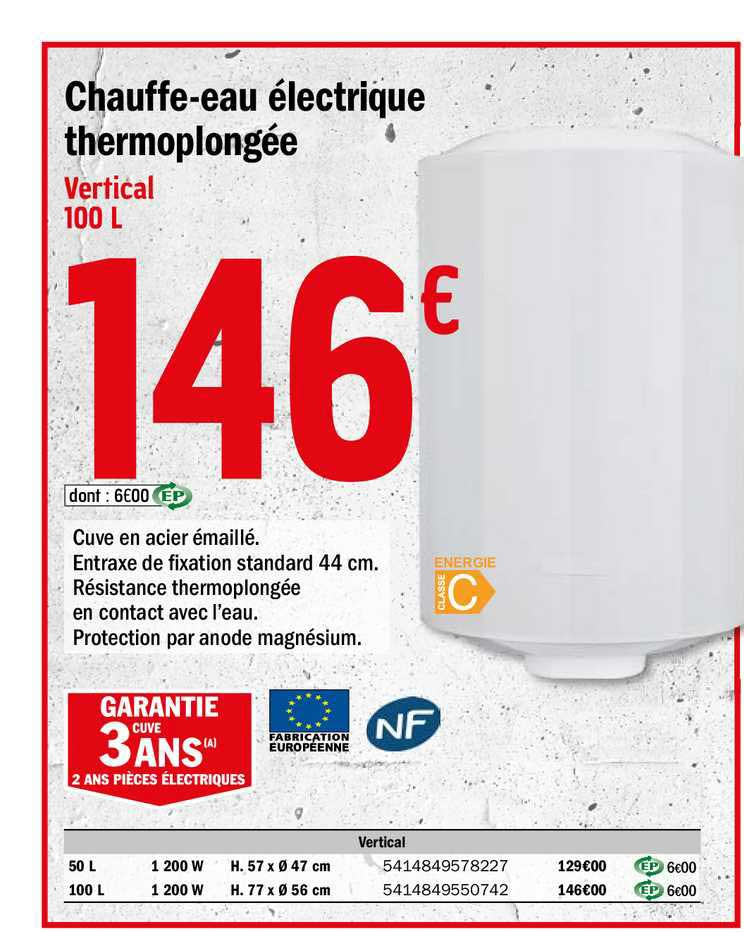Offre Chauffe Eau Electrique Thermoplongee Chez Brico Depot