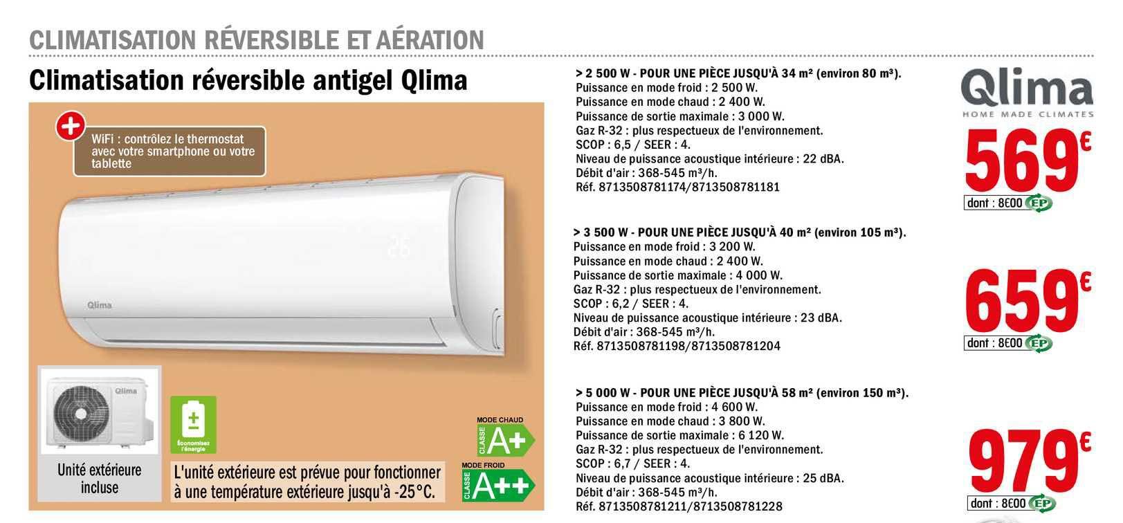 Offre Climatisation Reversible Antigel Qlima Chez Brico Depot