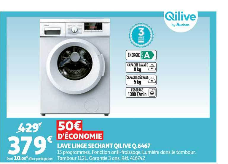Auchan Lave Linge Sechant Qilive Q 6467