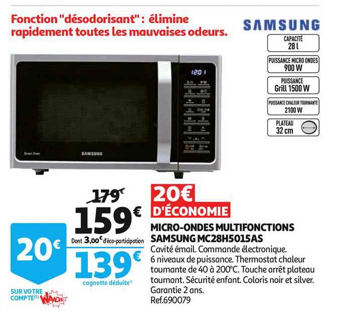 Offre Micro Ondes Multifonctions Samsung Mc28h5015as Chez Auchan