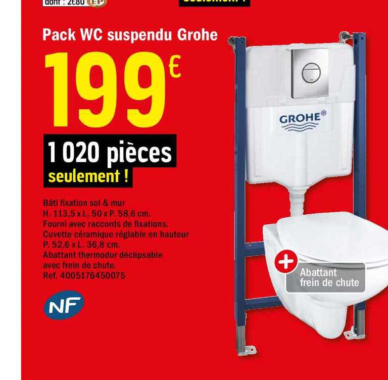 Offre Pack Wc Suspendu Groche Chez Brico Depot