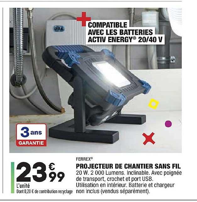 Aldi Projecteur De Chantier Sans Fil Ferrex