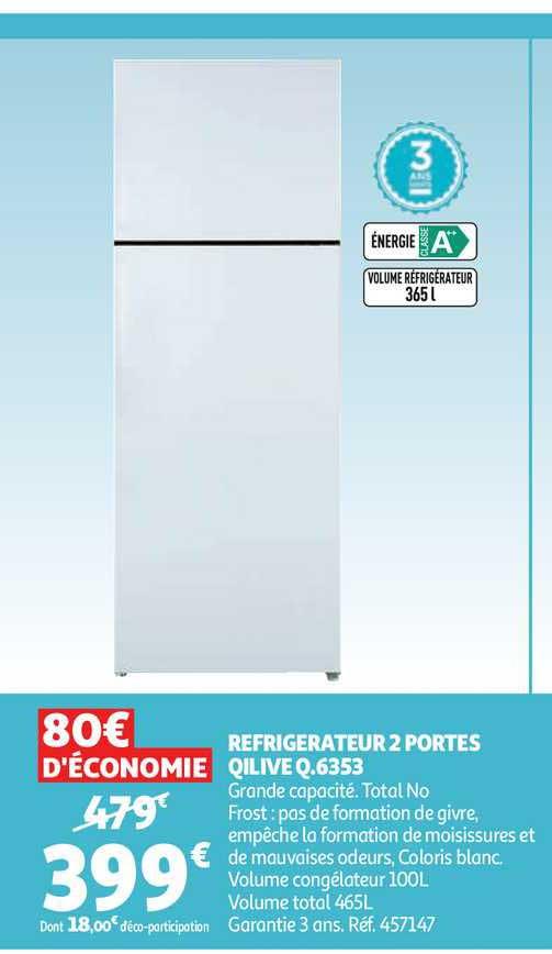 Auchan Réfrigérateur 2 Portes Qilive Q.6353