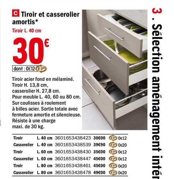 Offre Tiroir Et Casserolier Amortis Chez Brico Depot