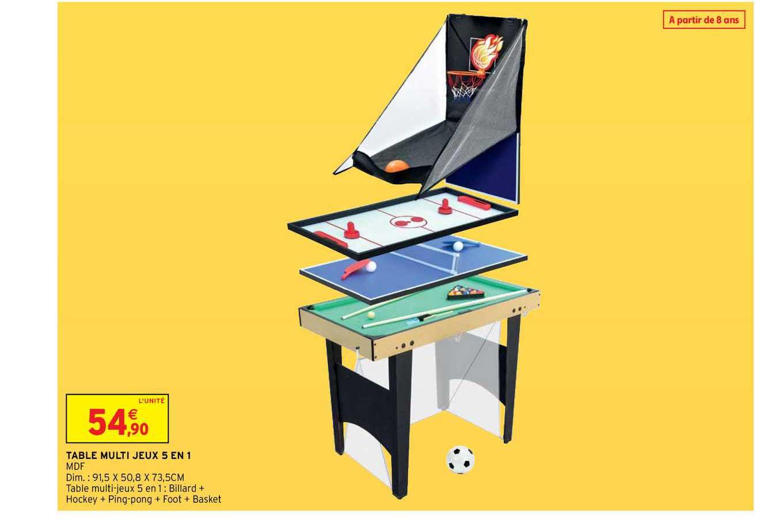 Intermarché Hyper Table Multi Jeux 5 En 1