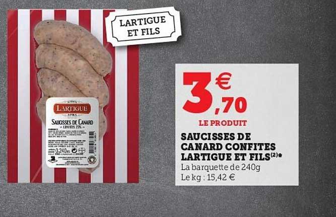 Hyper U Saucisses De Canard Confites Lartigue Et Fils