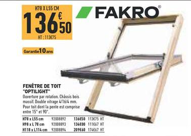 Offre Fenetre De Toit Optilight Fakro Chez Brico Cash