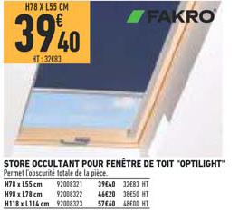 Offre Store Occultant Pour Fenetre De Toit Optilight Chez Brico Cash