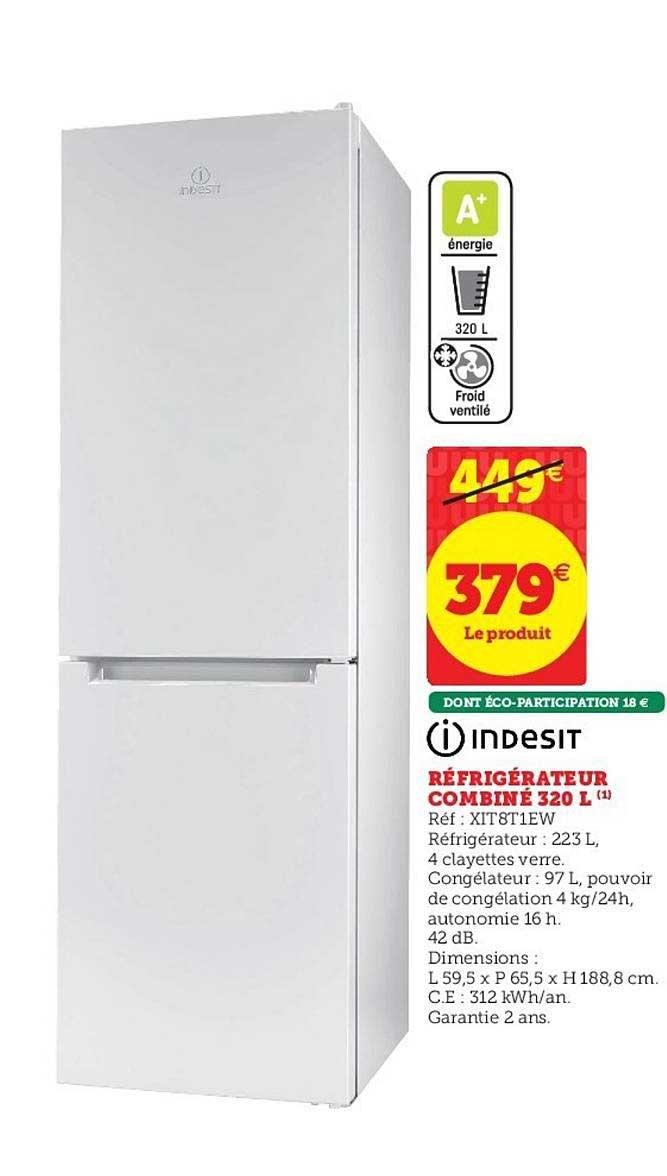Hyper U Réfrigérateur Combiné 320 L Indesit