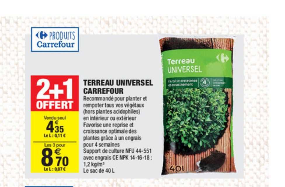 Carrefour Market Terreau Universel Carrefour 2+1 Offert