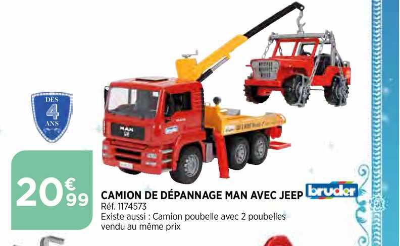 Bi1 Camion De Dépannage Man Avec Jeep Bruder