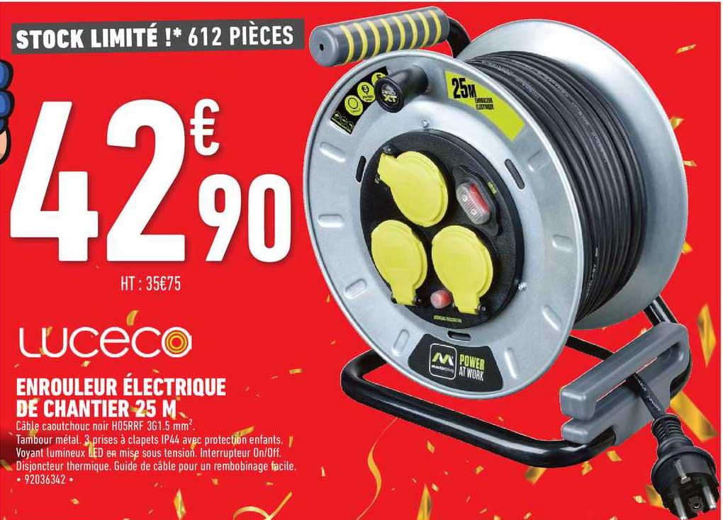 Brico Cash Enrouleur électrique De Chantier 25 M Luceco