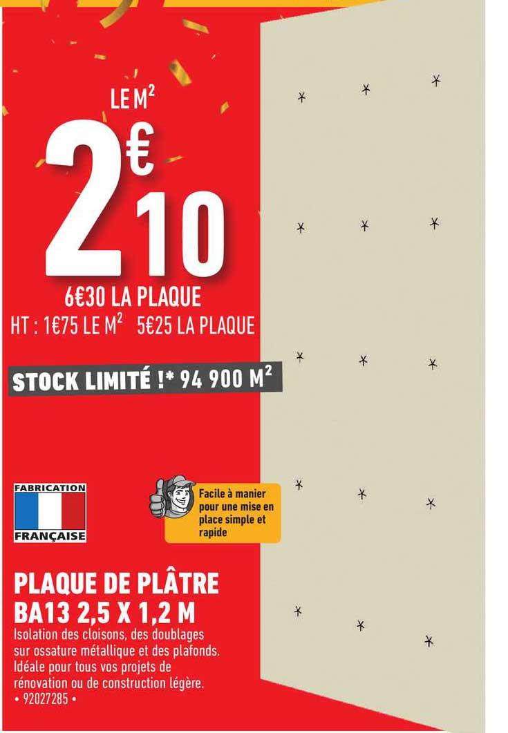 Brico Cash Plaque De Plâtre Ba13 2,5 X 1,2 M