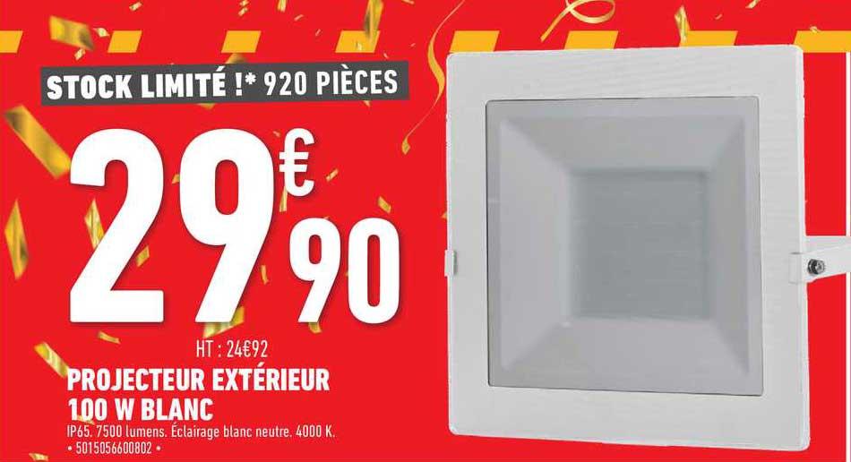 Brico Cash Projecteur Extérieur 100 W Blanc