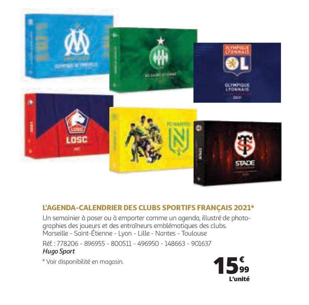Offre L'agenda, Calendrier Des Clubs Sportifs Français 2021 chez