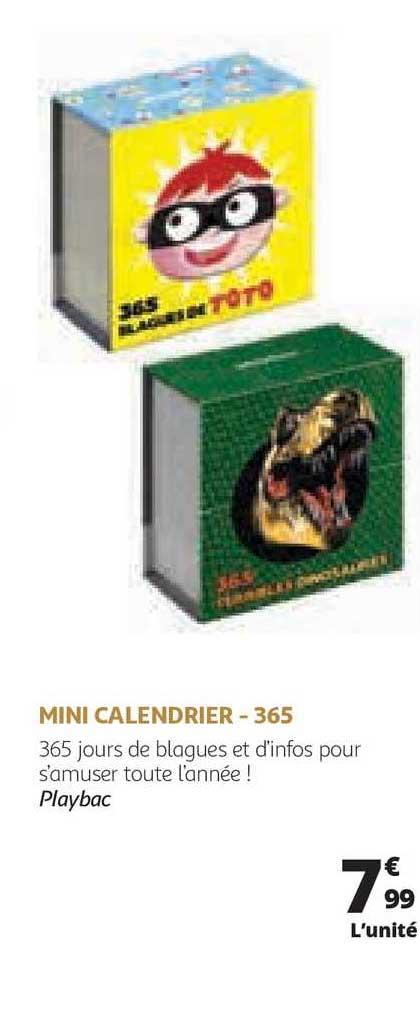 Offre Mini Calendrier 365 chez Auchan