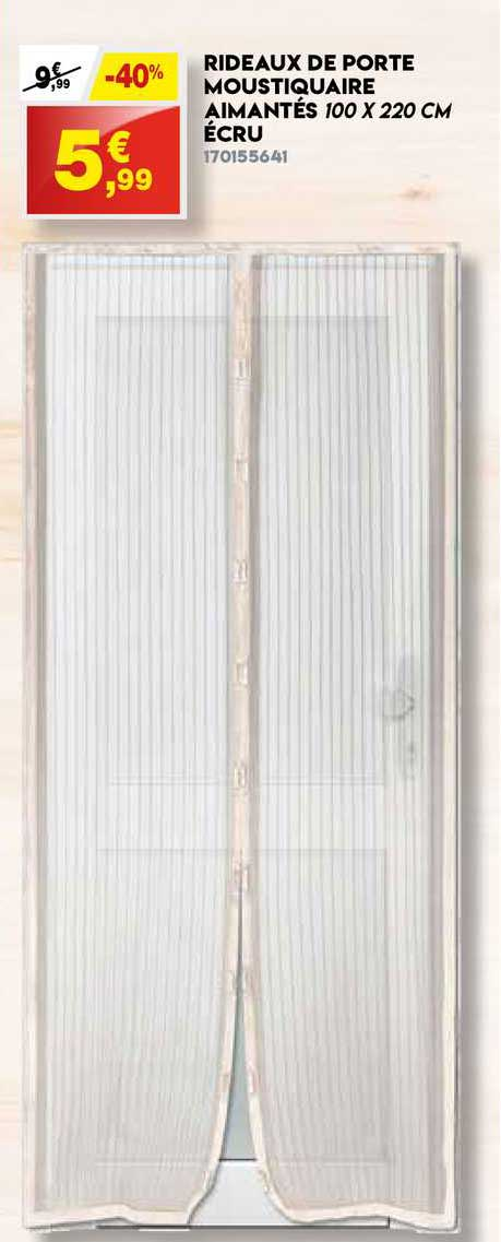 Maxi Bazar Rideaux De Porte Moustiquaire Aimantes 100 X 220 Cm Ecru